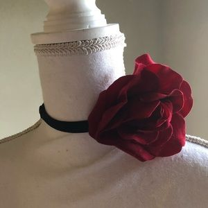 Black Choker or Headband W/ Removable Rose NWOT